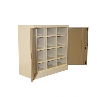 Twelve slot pigeon hole steel filing cabinet.