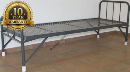 Heavy Duty Steel Beds with Folding Legs-Wire Mesh-Hammertone Grey Only