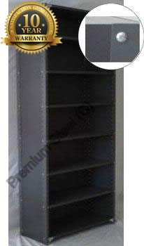 Heavy Duty Closed 8 Shelves Freestanding Bolted Steel Shelving-Hammer tone grey only.