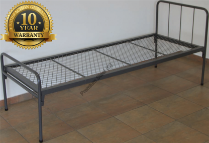 Heavy Duty Steel Beds with Headboard-Wire Mesh Hammertone Grey Only