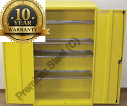 Heavy Duty Steel Hazardous Cabinets Yellow Only