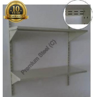 Heavy Duty 2 Shelves Set Wall Mounted Steel Shelving-Ivory Color Only