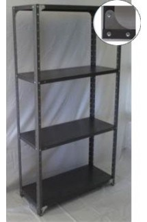 Heavy Duty Open 4 Shelves Freestanding Bolted Steel Shelving-Hammer tone grey only.