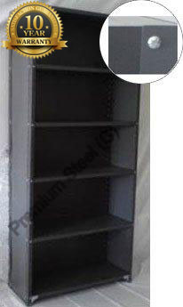 Heavy Duty Closed 5 Shelves Freestanding Bolted Steel Shelving-Hammer tone grey only.