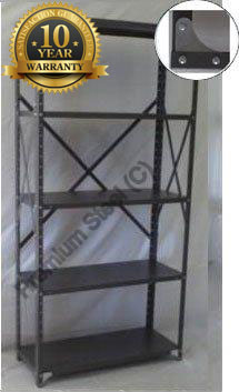 Heavy Duty Open 5 Shelves Freestanding Bolted Steel Shelving-Hammer tone grey only.