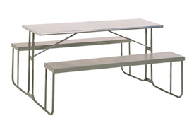 Heavy Duty 1800mm Galvanized Steel Canteen Benches Hammertone Grey Only