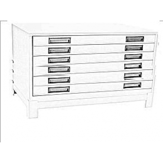 Heavy Duty 6 Drawer Steel Plan Filing Cabinets Ivory Only