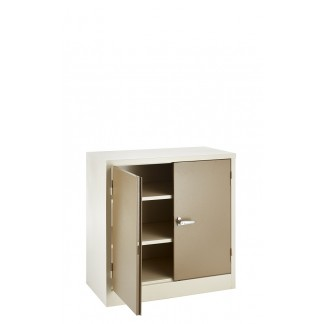 Heavy Duty Stationery Cupboard with 2 Shelves. 900mm Height. Ivory/Karoo or Grey.