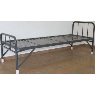 Heavy Duty Steel Beds with Folding Legs-Wire Mesh-Hammertone Grey Only