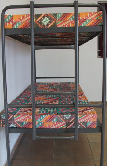 Heavy Duty Steel Double Bunk Beds with Ladder-Wire Mesh-Hammertone Grey Only