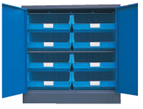 Blue 900H x 900W x 450D  Steel Cupboards with 1 Shelf and 8 Picking Bins