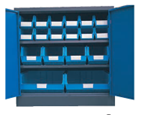 Blue 900H x 900W x 450D  Steel Cupboards with 2 Shelves and 18 Picking Bins