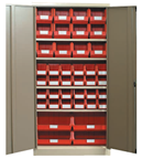 Ivory/Karoo 1800H x 900W x 450D  Steel Cupboards with 4 Shelves and 40 Picking Bins