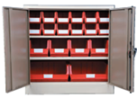 Ivory/Karoo 900H x 900W x 450D  Steel Cupboards with 2 Shelves and 18 Picking Bins
