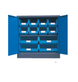 900H x 900W x 450D Blue Doors Grey Steel Cupboards with 1 Shelf and 12 Picking Bins