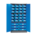 1800H x 900W x 450D Blue Doors Grey Steel Cupboards with 2 Shelves and 30 Picking Bins