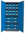 1800H x 900W x 450D Blue Doors Grey Steel Cupboards with 3 Shelves and 24 Picking Bins