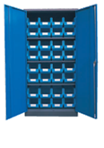 1800H x 900W x 450D Blue Doors Grey Steel Cupboards with 3 Shelves and 32 Picking Bins