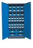 1800H x 900W x 450D Blue Doors Grey Steel Cupboards with 4 Shelves and 40 Picking Bins