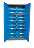 1800H x 900W x 450D Blue Doors Grey Steel Cupboards with 3 Shelves and 16 Picking Bins