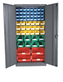 1800H x 900W x 450D  Full Size Grey Steel Cupboards with Fitted Louvre Panel and 62 Picking Bins
