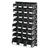 900 x 450mm Black Louvre Panels with 31 Black Picking Bins