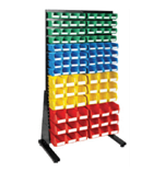 1800 x 1000 mm Black Single Sided Freestanding Louvre Panels with 100 Colour Picking Bins