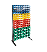 1800 x 1000 mm Black Single Sided Freestanding Louvre Panels with 112 Colour Picking Bins