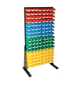 1800 x 1000 mm Black Single Sided Freestanding Louvre Panels with 136 Colour Picking Bins