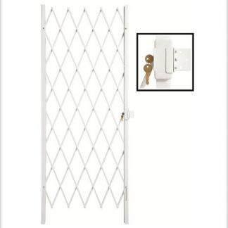 Track Free Swing Slamlock Security Gate- 840mm(W) x 2000mm(H)-White.