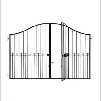 Heavy Duty Ref 19P Induna Driveway Gate With Pedestrian Gate Height 1600/2000-Black.