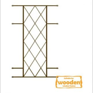 Heavy Duty Diamond Burglar Bars for Wooden Frames-530mm x 1000mm-Bronze