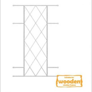 Heavy Duty Diamond Burglar Bars for Wooden Frames-530mm x 1000mm-White
