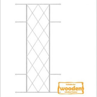 Heavy Duty Diamond Burglar Bars for Wooden Frames-530mm x 1270mm-White