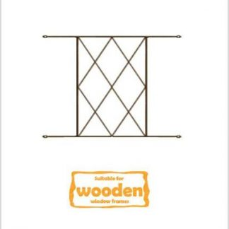 Heavy Duty Diamond Burglar Bars for Wooden Frames-530mm x 450mm-Bronze
