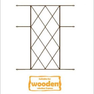 Heavy Duty Diamond Burglar Bars for Wooden Frames-530mm x 700mm-Bronze
