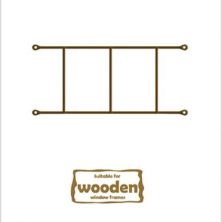 Heavy Duty Cottage 2 Pane  Burglar Bars for Wooden Frames-530mm x 160mm-Bronze