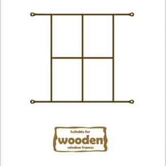 Heavy Duty Cottage 4 Pane  Burglar Bars for Wooden Frames-530mm x 440mm-Bronze