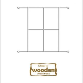 Heavy Duty Cottage 4 Pane Burglar Bars for Wooden Frames-530mm x 440mm-White