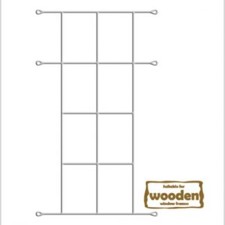 Heavy Duty Cottage 8 Pane Burglar Bars for Wooden Frames-530mm x 1140mm-White