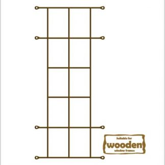 Heavy Duty Cottage 10 Pane  Burglar Bars for Wooden Frames-530mm x 1350mm-Bronze